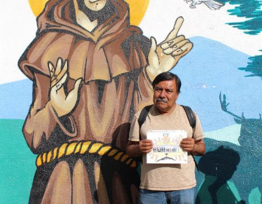 Jorge outside SFC with his original artwork.