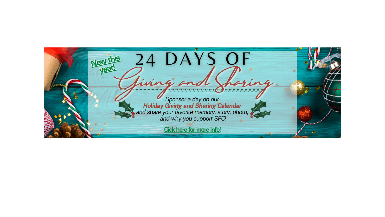 Sponsor a day on our holiday calendar and share your favorite memory of St. Francis Center!